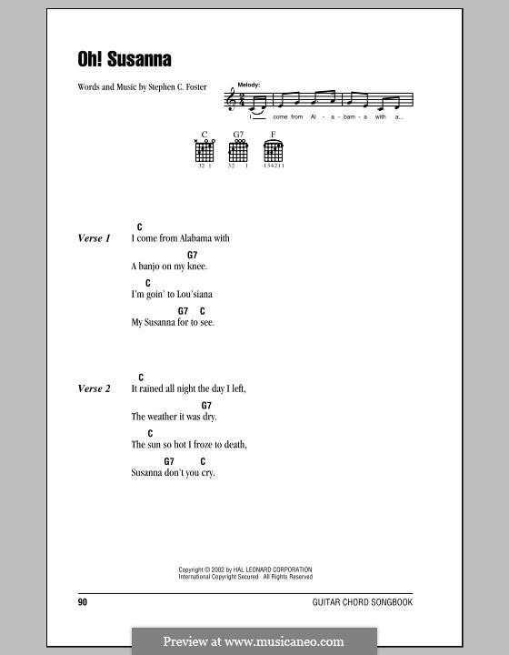 Oh! Susanna: Letras e Acordes (com caixa de acordes) by Stephen Collins Foster