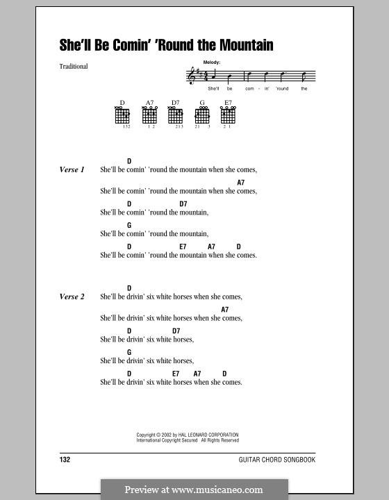 She'll Be Comin' 'Round the Mountain: Letras e Acordes (com caixa de acordes) by folklore