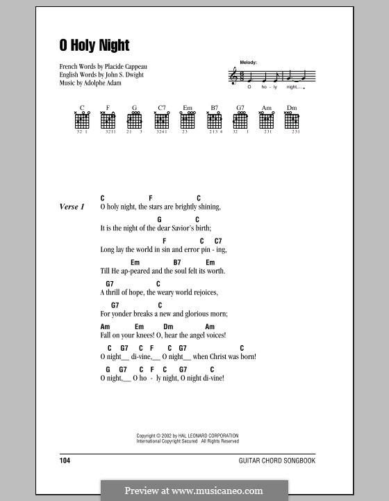 O Holy Night (Printable Scores): Letras e Acordes by Adolphe Adam