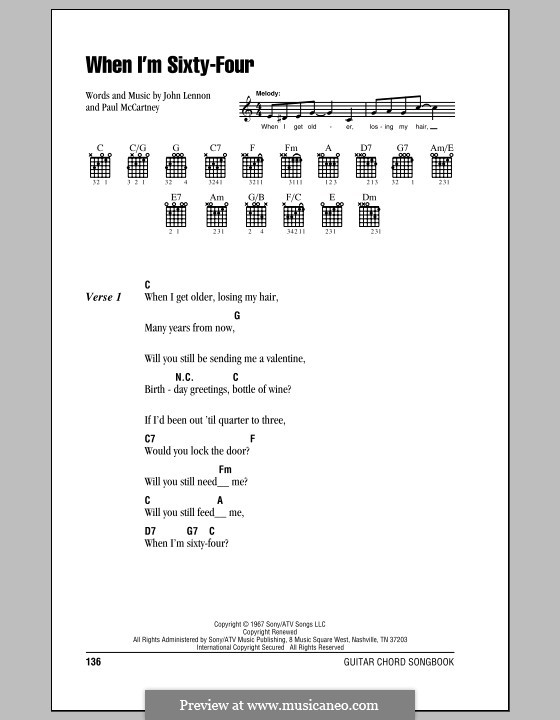 When I'm Sixty-Four (The Beatles): Lyrics and chords (with chord boxes) by John Lennon, Paul McCartney