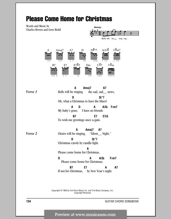 Please Come Home for Christmas (The Eagles): Letras e Acordes (com caixa de acordes) by Charles Brown, Gene Redd