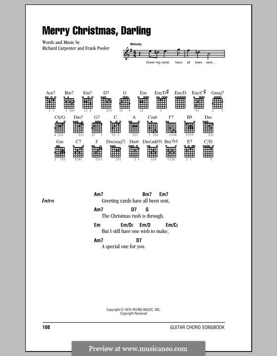 Merry Christmas, Darling (Carpenters): Letras e Acordes (com caixa de acordes) by Frank Pooler, Richard Carpenter