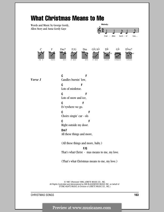 What Christmas Means To Me (Stevie Wonder): Letras e Acordes (com caixa de acordes) by Allen Story, Anna Gordy Gaye, George Gordy
