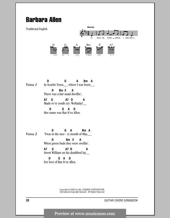 Barbara Allen: Letras e Acordes (com caixa de acordes) by folklore