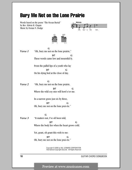 Bury Me Not on the Lone Prairie: Letras e Acordes (com caixa de acordes) by Ossian N. Dodge