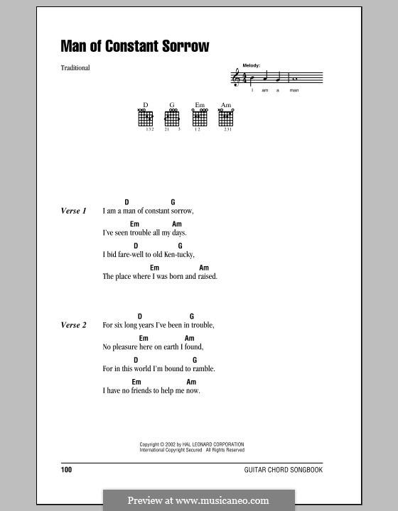 Man of Constant Sorrow: Letras e Acordes (com caixa de acordes) by folklore