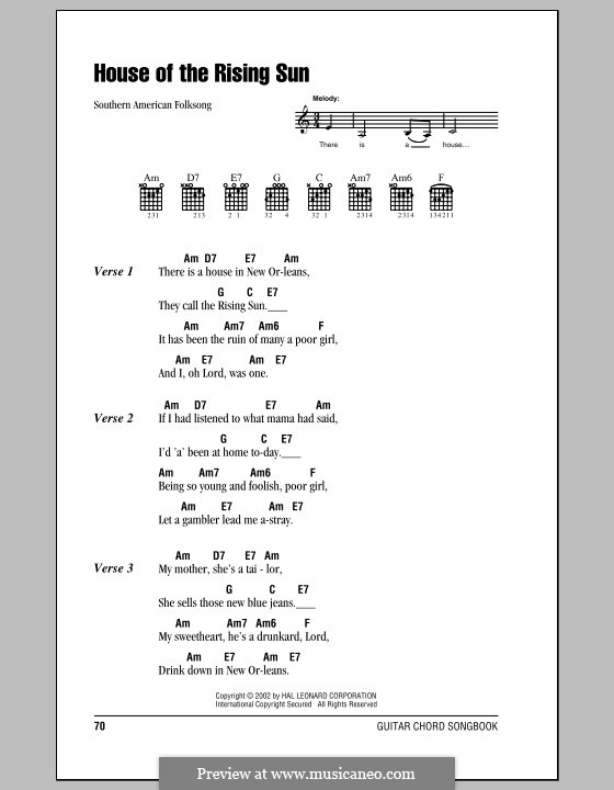 House of the Rising Sun: Lyrics and chords with boxes by folklore