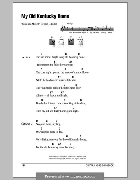 My Old Kentucky Home Good-Night: Letras e Acordes (com caixa de acordes) by Stephen Collins Foster