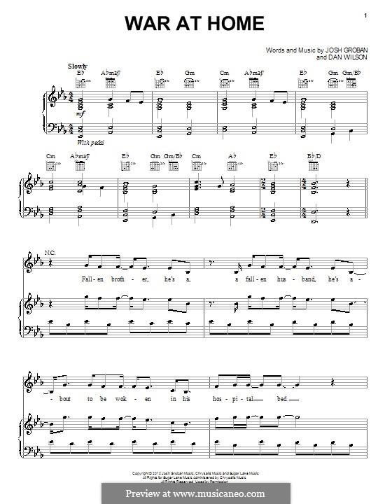 War at Home: Para vocais e piano (ou Guitarra) by Daniel Wilson, Josh Groban