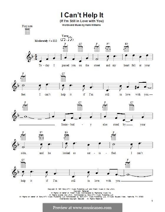I Can't Help It (If I'm Still in Love with You): para ukulele by Hank Williams