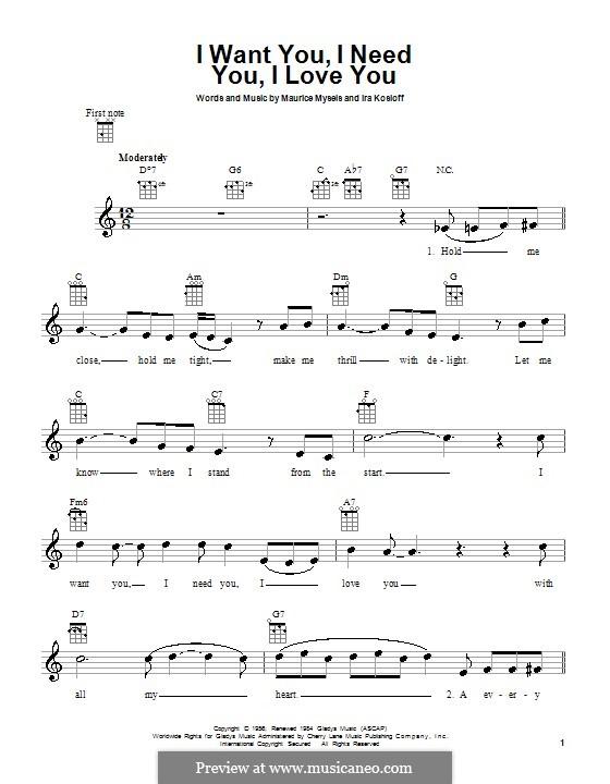 I Want You, I Need You, I Love You (Elvis Presley): para ukulele by Ira Kosloff