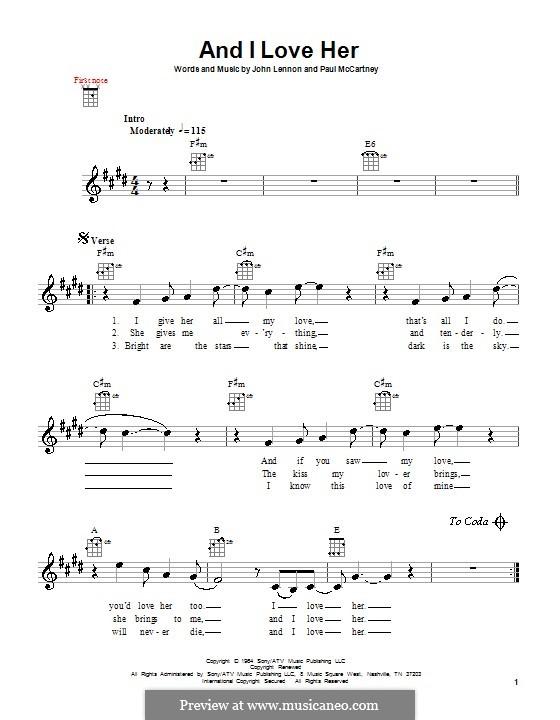 And I Love Her (The Beatles): para ukulele by John Lennon, Paul McCartney