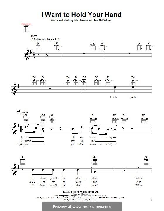 I Want to Hold Your Hand (The Beatles): para ukulele by John Lennon, Paul McCartney