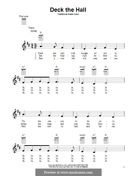 Deck the Hall (Printable): para ukulele by folklore