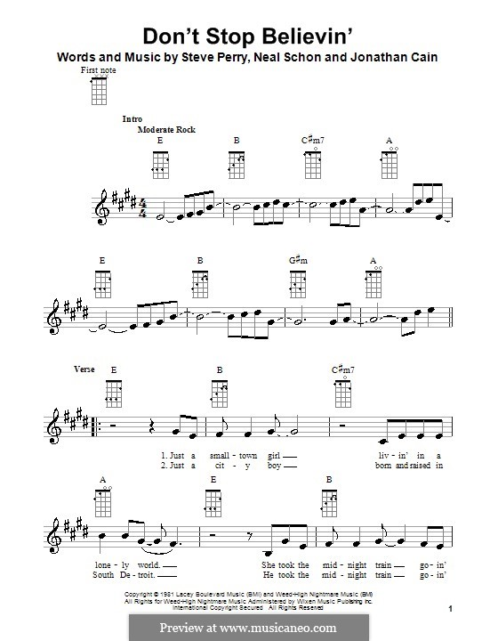 Don't Stop Believin': para ukulele by Jonathan Cain, Neal Schon, Steve Perry