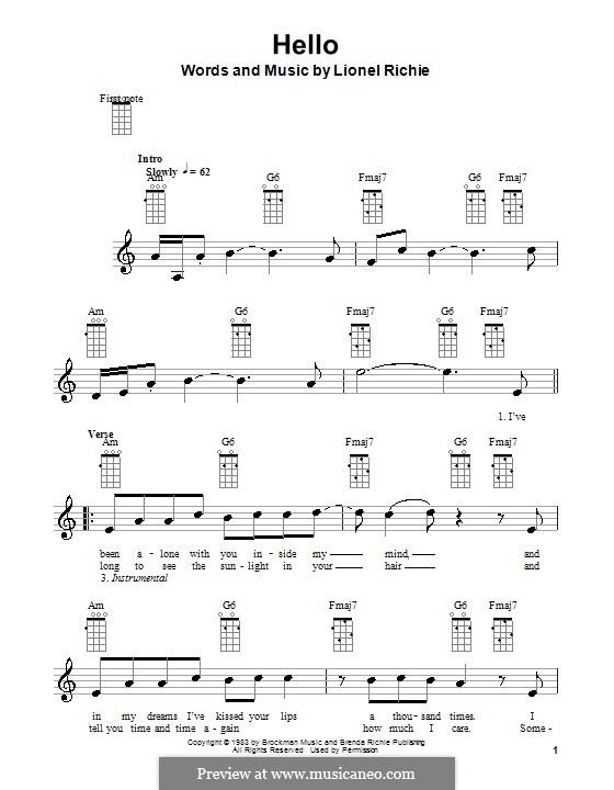 Hello: para ukulele by Lionel Richie
