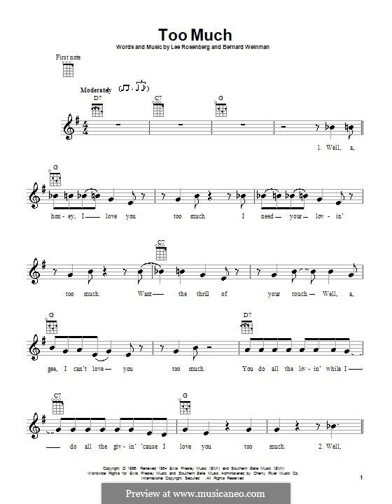 Too Much (Elvis Presley): para ukulele by Bernard Weinman, Lee Rosenberg