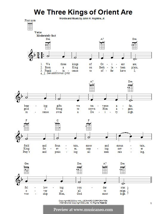 We Three Kings of Orient are (Printable Scores): para ukulele by John H. Hopkins Jr.