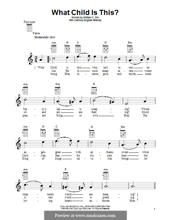 What Child is This (Christmas Carol): para ukulele by folklore