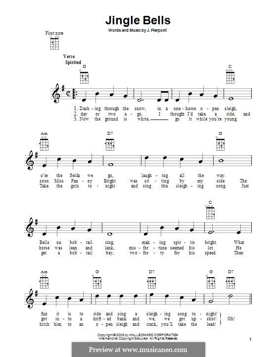 Jingle Bells (Printable scores): para ukulele by James Lord Pierpont