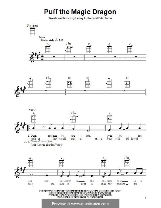 Puff the Magic Dragon (Peter, Paul & Mary): para ukulele by Lenny Lipton, Peter Yarrow
