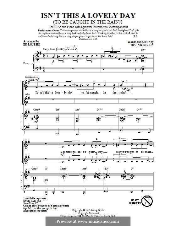 Isn't This a Lovely Day (To Be Caught in the Rain?): Coral SSA by Irving Berlin