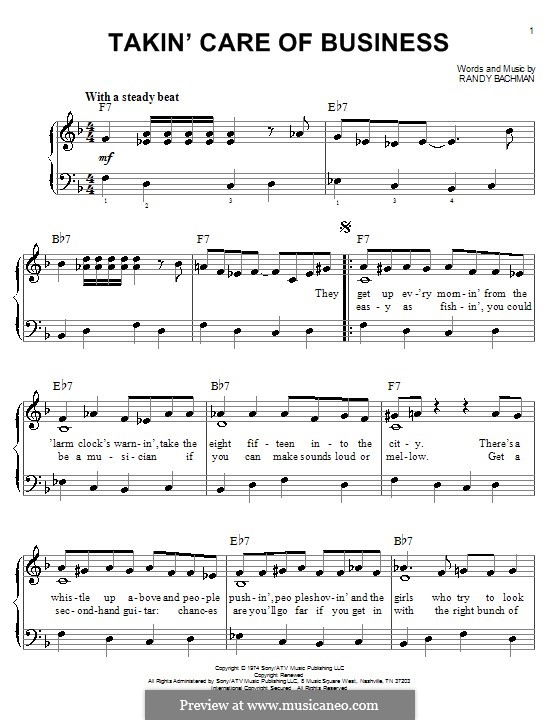 Takin' Care of Business (Bachman-Turner Overdrive): Facil para o piano by Randy Bachman