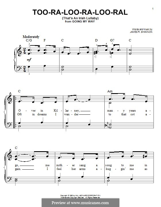 Too-Ra-Loo-Ra-Loo-Ral (That's an Irish Lullaby): For esy piano by James Royce Shannon