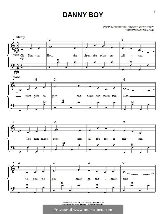 Danny Boy (Londonderry Air) Printable Scores: para acordeão by folklore