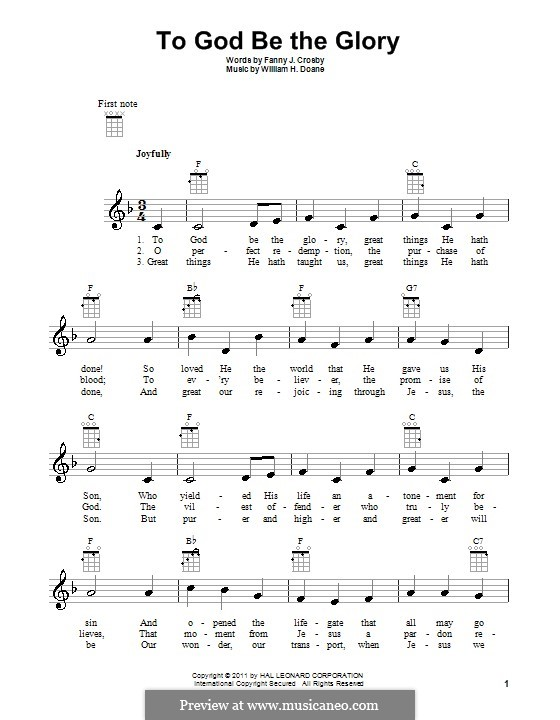 To God be the Glory: para ukulele by William Howard Doane