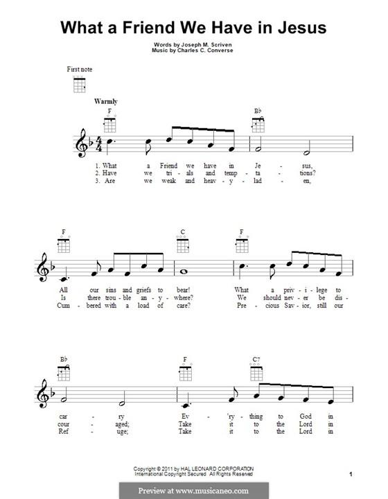 What a Friend We Have in Jesus (Printable): para ukulele by Charles Crozat Converse