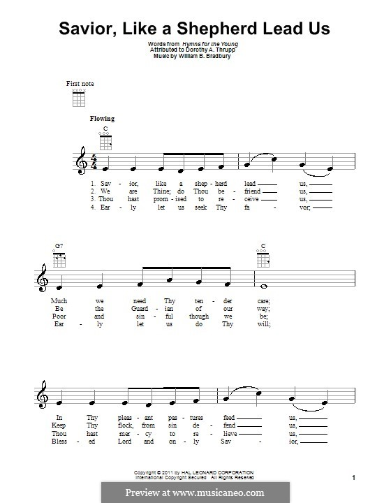 Savior, Like a Shepherd Lead Us: para ukulele by William Batchelder Bradbury