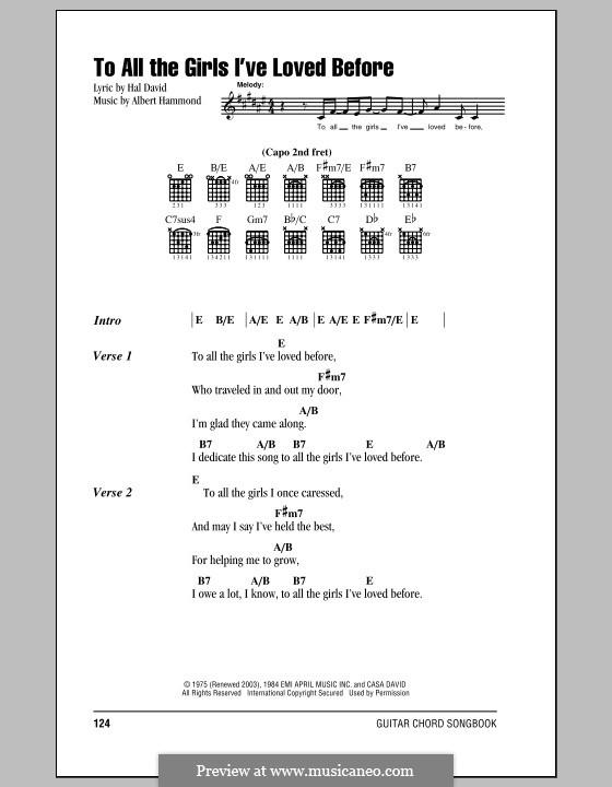 To All the Girls I've Loved Before (Willie Nelson & Julio Iglesias): Letras e Acordes (com caixa de acordes) by Albert Hammond, Hal David