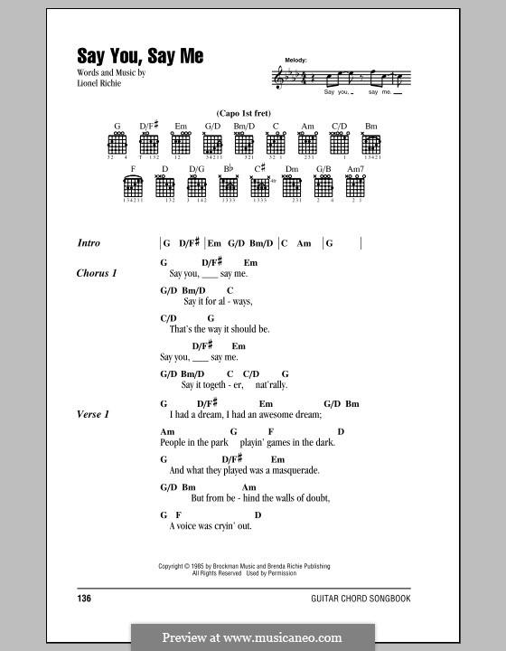 Say You, Say Me: Letras e Acordes (com caixa de acordes) by Lionel Richie