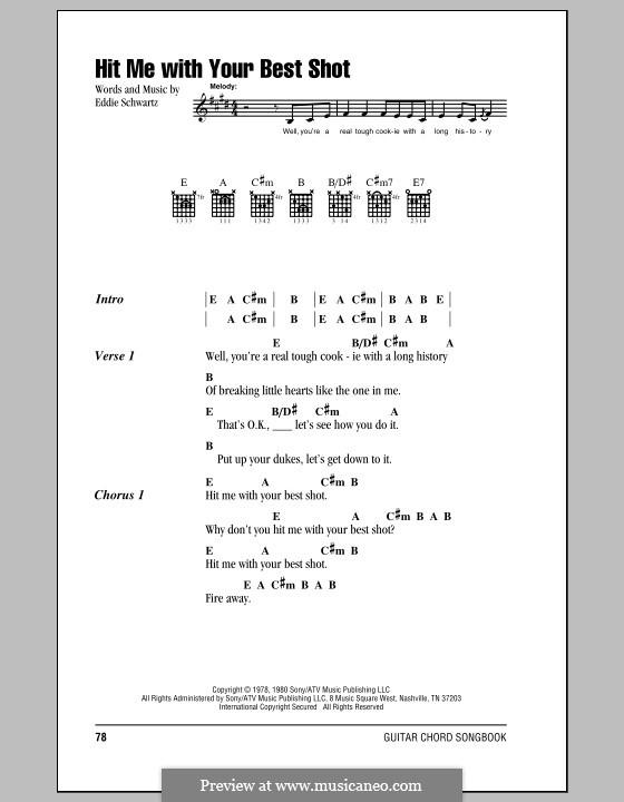 Hit Me with Your Best Shot (Pat Benatar): Letras e Acordes (com caixa de acordes) by Eddie Schwartz