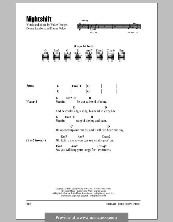 Nightshift (The Commodores): Letras e Acordes (com caixa de acordes) by Dennis Lambert, Francine Golde, Walter Orange