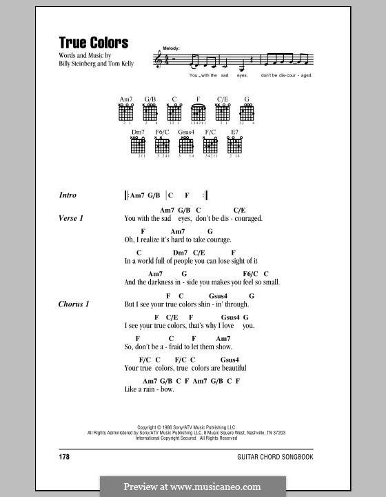 True Colors: Letras e Acordes (com caixa de acordes) by Billy Steinberg, Tom Kelly
