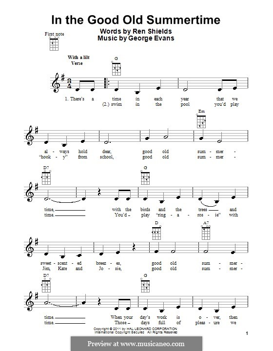 In the Good Old Summer Time: para ukulele by George Evans