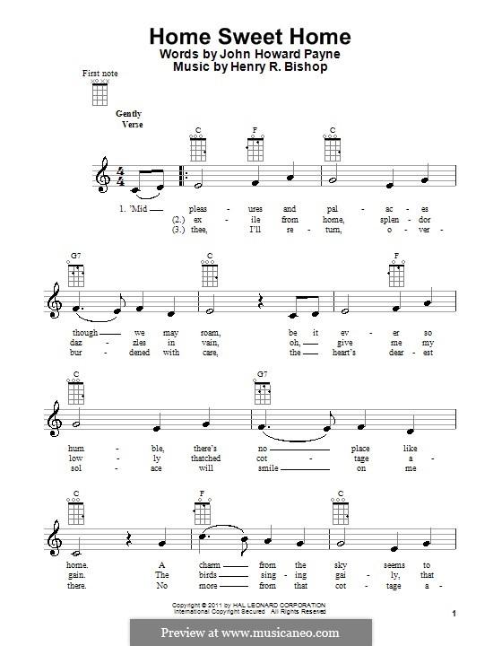 Home, Sweet Home: para ukulele by Henry Bishop