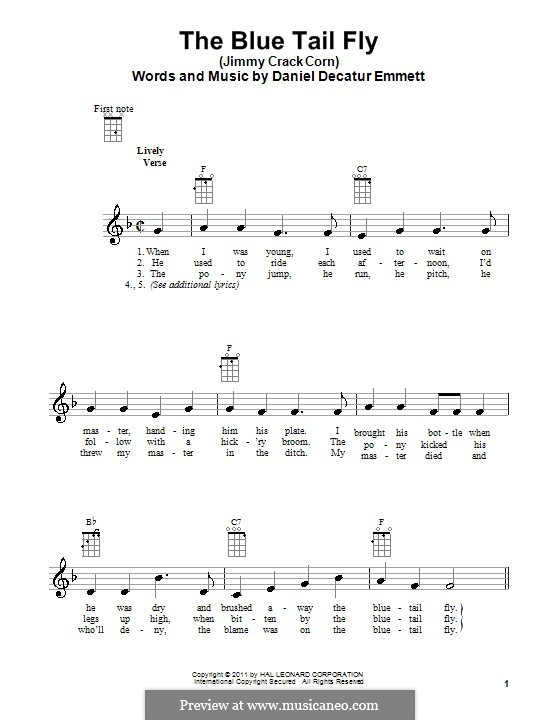 The Blue Tail Fly (Jimmy Crack Corn): para ukulele by Daniel Decatur Emmett