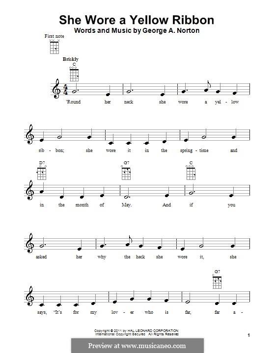 She Wore a Yellow Ribbon: para ukulele by George A. Norton