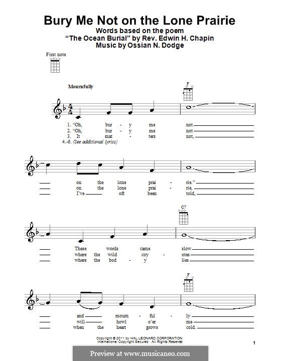 Bury Me Not on the Lone Prairie: para ukulele by Ossian N. Dodge