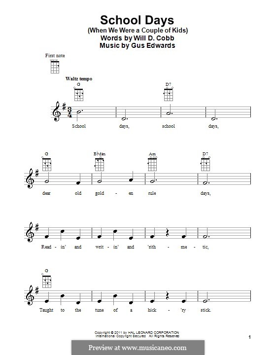 School Days (When We Were a Couple of Kids): para ukulele by Gus Edwards