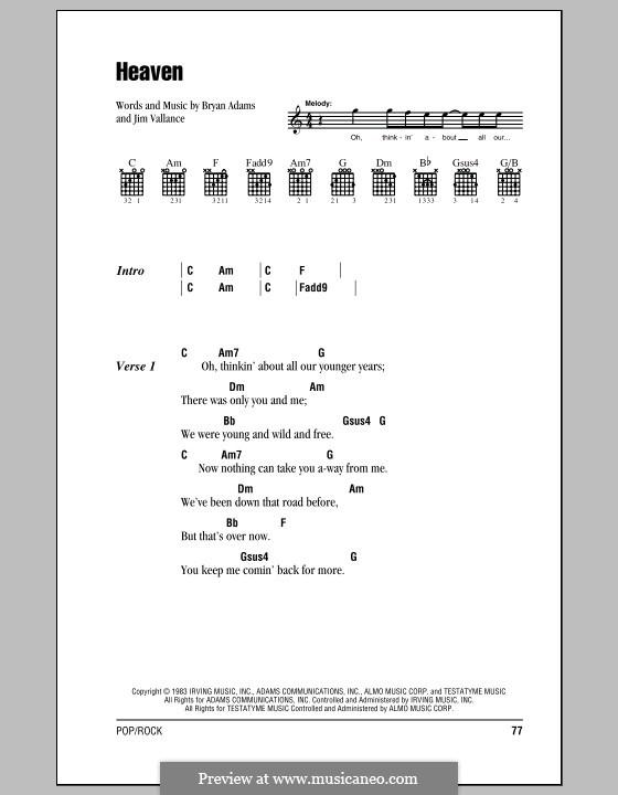 Heaven (DJ Sammy): Letras e Acordes (com caixa de acordes) by Bryan Adams, Jim Vallance