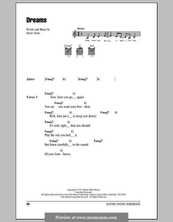 Dreams (Fleetwood Mac): Letras e Acordes (com caixa de acordes) by Stevie Nicks