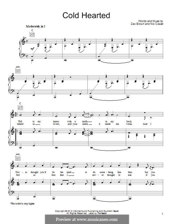 Cold Hearted (Zac Brown Band): Para vocais e piano (ou Guitarra) by Nic Cowan, Zac Brown