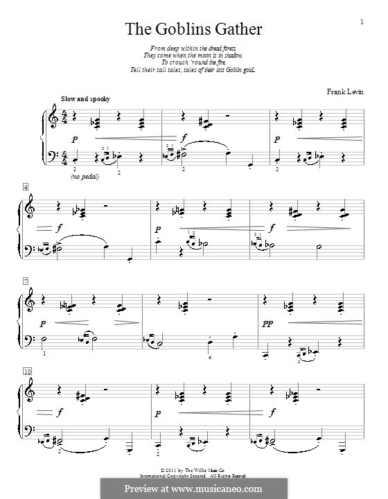 The Goblins Gather: Para Piano by Frank Levin