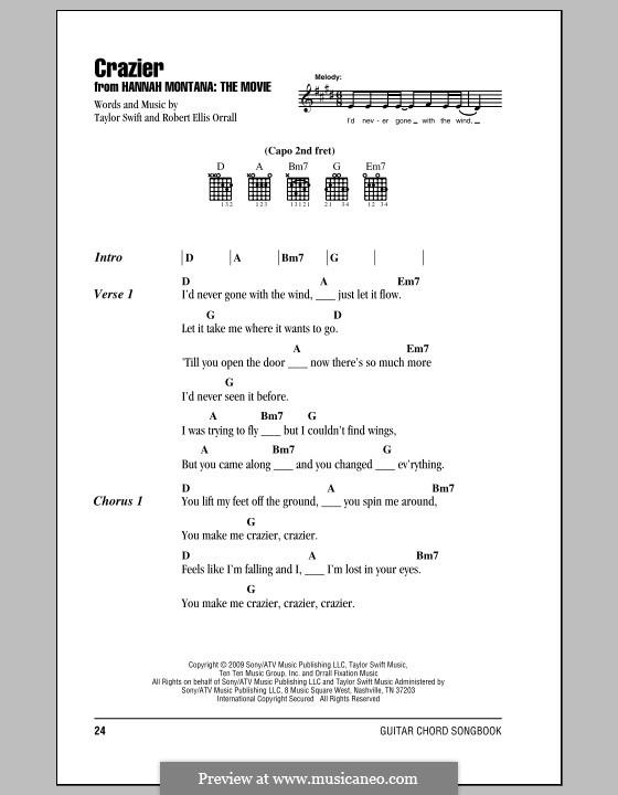 Crazier (Taylor Swift): Letras e Acordes (com caixa de acordes) by Robert Ellis Orrall