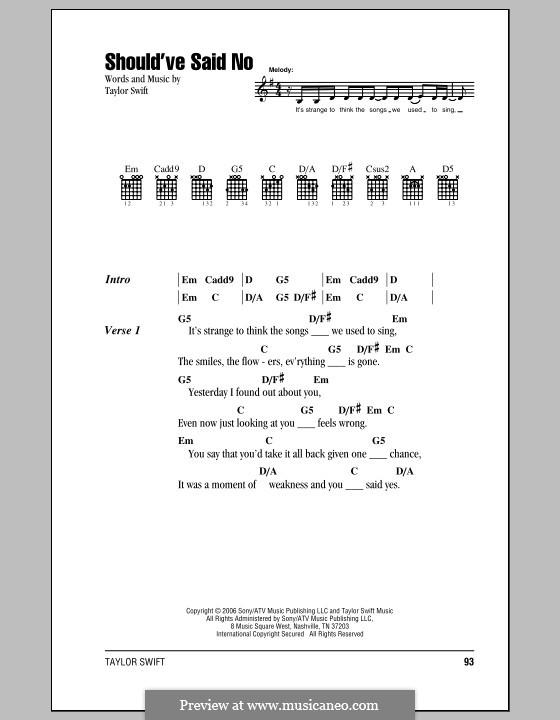 Should've Said No: Letras e Acordes (com caixa de acordes) by Taylor Swift