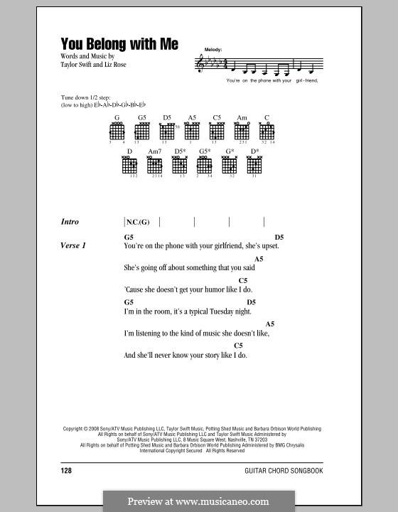 You Belong with Me (Taylor Swift): Letras e Acordes (com caixa de acordes) by Liz Rose